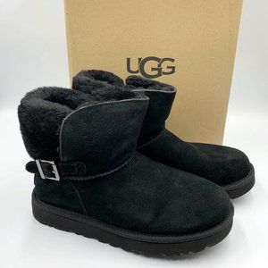 UGG Black Karel Boots Shearling Buckle Mini Boots